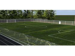 Футбольное поле с крытыми теннисными кортами.