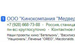 ПРодвижение сайта киностудии в топ-1.
