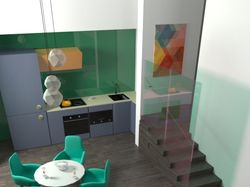 Визуализация интерьера кухни и  гостинной