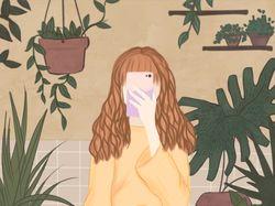 Девушка в оранжерее