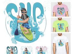 Принт на футболку SUP-серфинг