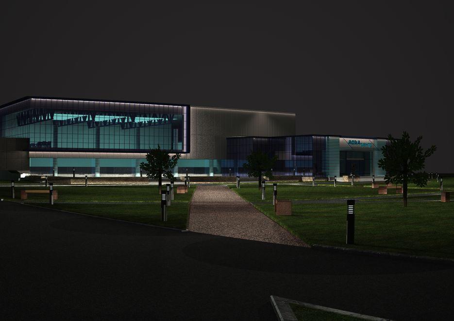 Итоговый вариант с разработанной подсветкой фасада