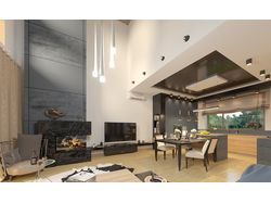 Зал, кухня, лестница, коридор