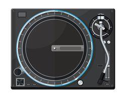Иллюстрация, виниловый DJ-проигрыватель