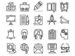 Иконки линеарные, монохромные (11 комплектов)