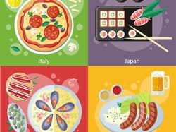 Flat-иллюстрации: еда (3 комплекта)