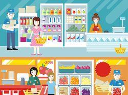 Flat-иллюстрации: шоппинг (9 комплектов)