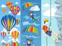Flat-иллюстрации: туризм, спорт (5 комплектов)