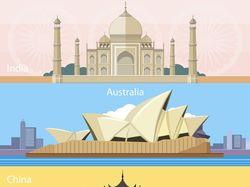 Flat-иллюстрации: путешествия (4 комплектов)