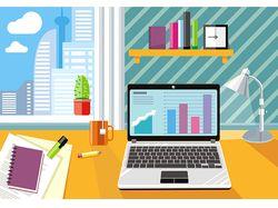 Flat-иллюстрации: рабочее место (12 комплектов)