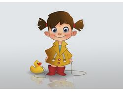 a girl with a duck