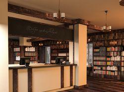 3D-визуализация интерьера книжного кафе