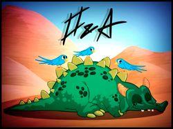 Динозавр на позитиве