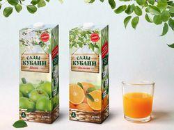 Дизайн упаковки сока «Сады кубани»