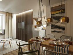 Дизайн пространства кухни-гостиной молодой паре