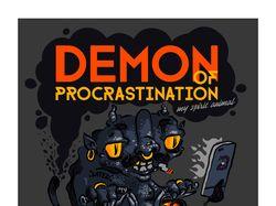 """Рисунок на футболку """"Демон прокрастинации"""""""