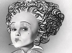 Хелена Картер (цифровой портрет мышкой в графике)