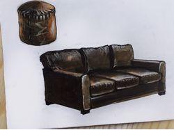Кожаный диван и пуф