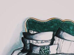 Дизайн изголовья кровати и подушек