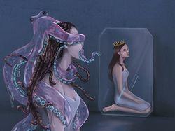 Иллюстрация в жанре фентези с осминогом