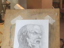 Конструктивный рисунок гипсовой головы