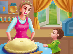 Заворожено дивлюся,  як пече пиріг матуся...