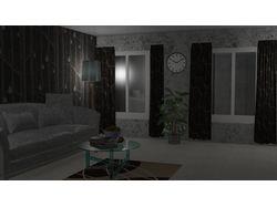 Визуализация интерьера (ночь)
