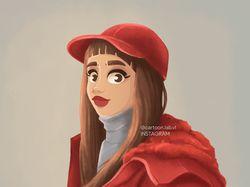 Мультяшный портрет девушки в красной кепке