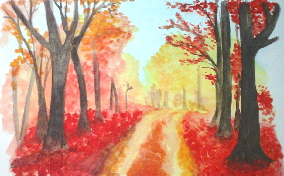 Осенний огненный пейзаж