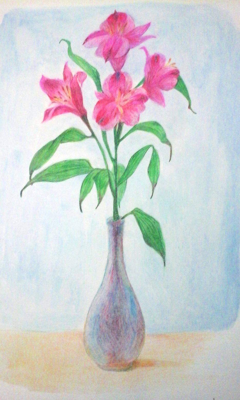 Натюрморт с вазой и лилиями