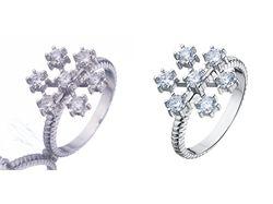 Обработка ювелирных украшений, кольца белое золото