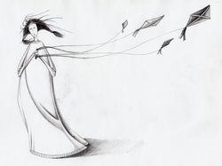 Девушка с воздушными змеями