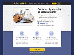 Дизайна лендинга для проекта easycontent.io