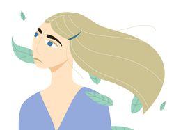 Иллюстрация. Девушка с листьями в волосах