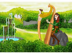 Эльфийка за арфой в прекрасном саду