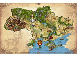 карта Украины в стиле фэнтези/стимпанк