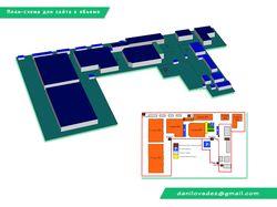 План-схема построек для сайта в объемном виде