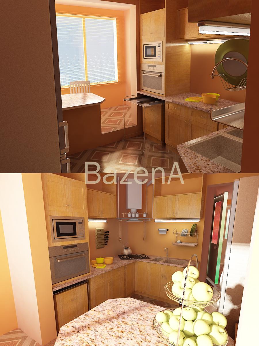 Дизайн и визуализация кухни в квартире-студии - работа 103 -.