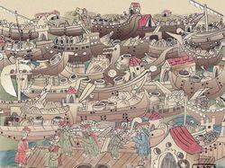 Торговля на реке в стиле древнерусских летописей