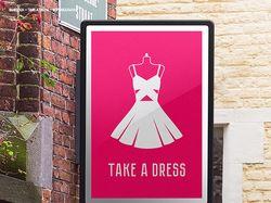 Вывеска для магазина платьев Take a Dress