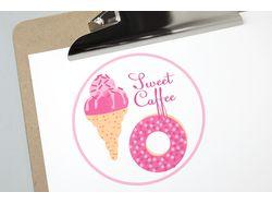 Лого и паттерн для кафе-кондитерской Sweet Caffee