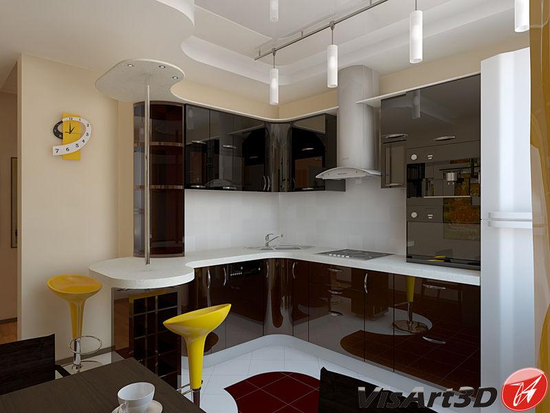 Кухня 3 квадрата дизайн