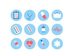 Медицинские иконки в стиле флэт