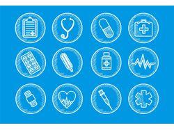 Медицинские иконки в линейном стиле, штриховка