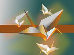 Оригами журавль Illustrator