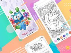 Coloring by numbers (Mobile App UI/UX)