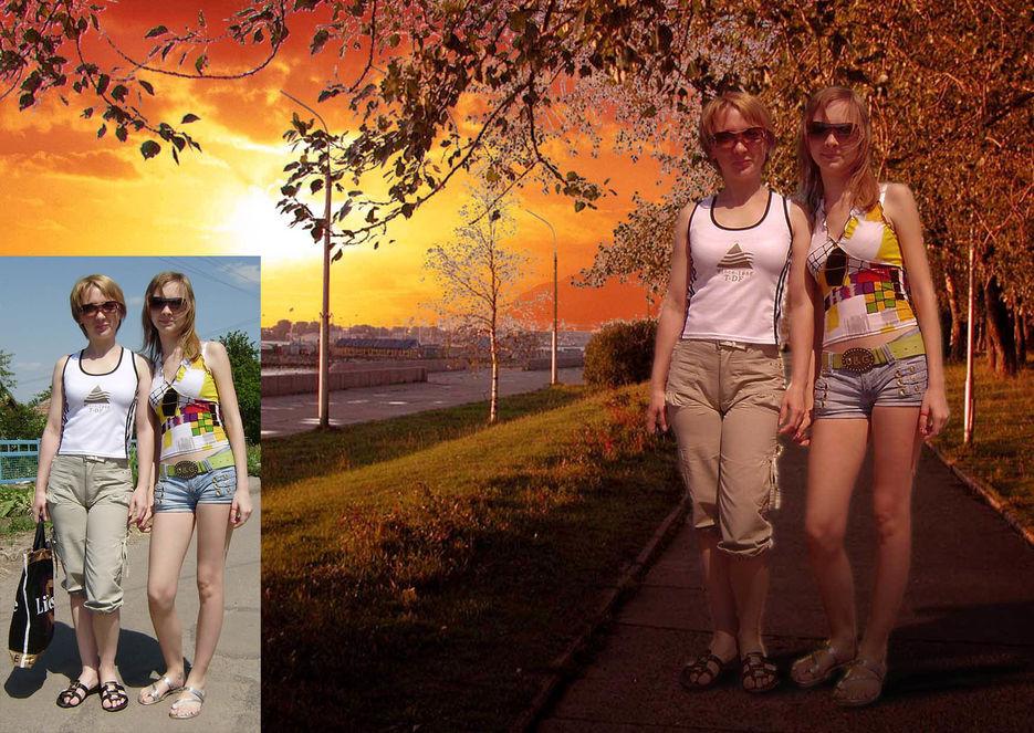 фотошопе меняем в на фон фотографии