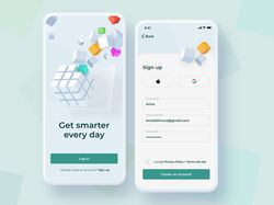 Mobile app for self - improvement | Sign up page