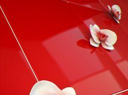 Фарфоровые орхидеи на красной плитке