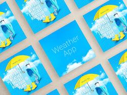 Рекламные материалы для приложения погоды.